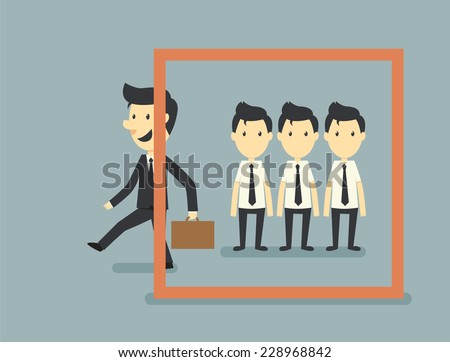 Go out of frame - stock vector