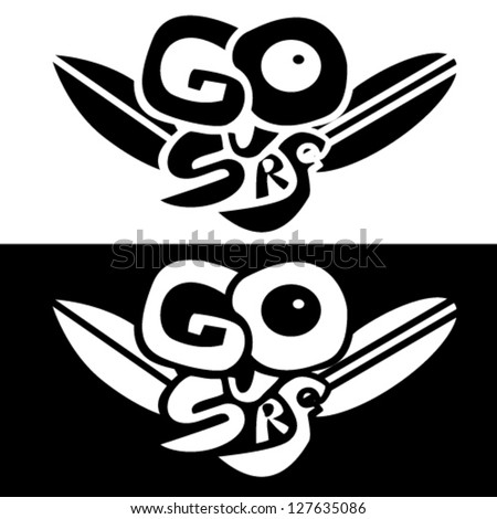 Go Surf emblem vector background, black and white variants - stock vector