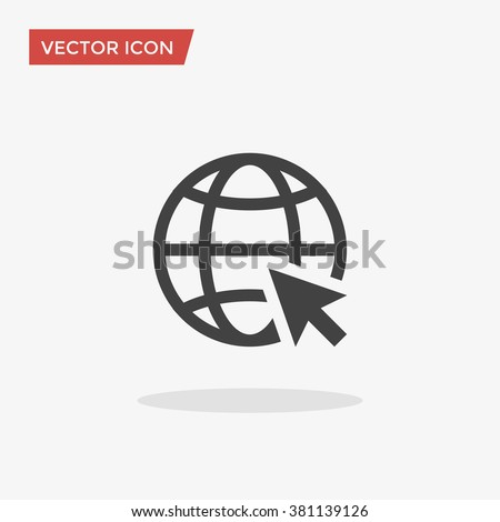 Go to web Icon in trendy flat style isolated on grey background. Website pictogram. Internet symbol for your web site design, logo, app, UI. Vector illustration, EPS10. - stock vector