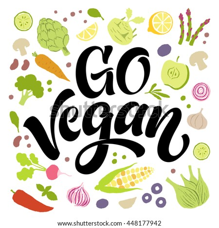Go vegan vector lettering with hand drawn fruits and vegetables. Products elements, calligraphic food logo. Eating set for farm, market, cafe design, menu, recipes. Healthy organic fresh illustration - stock vector