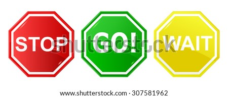Go, wait, and stop control / traffic signs, signals - stock vector
