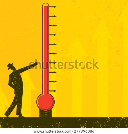 Goal Thermometer A man measuring the progress of a large fund raising thermometer. - stock vector