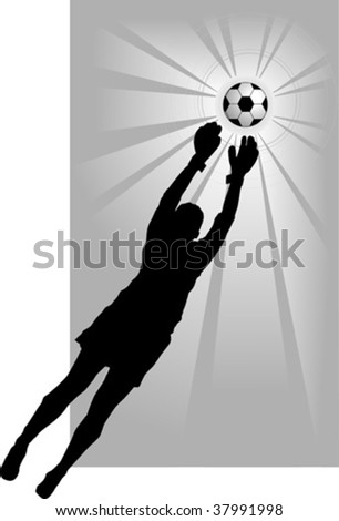 goalkeeper - the dangerous moment at gate; - stock vector