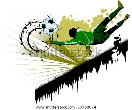 goalkeeper - the dangerous moment at gate (vector and illustration); - stock vector