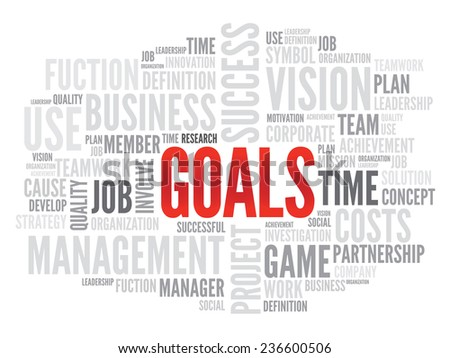GOALS business concept in word tag cloud, vector background - stock vector