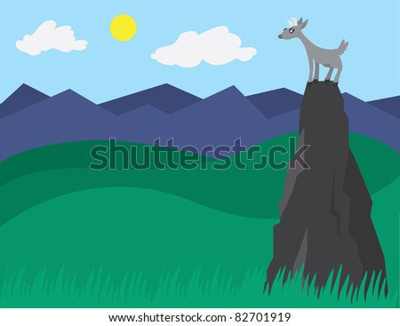 Goat on a Mountain - stock vector
