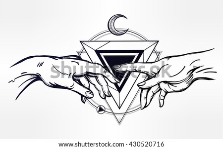 God and Adams hands. Creation of human with sacred symbol. Hope faith and help, assistance and support in religion. Isolated vector illustration. Tattoo design, spiritual symbol for your use. - stock vector
