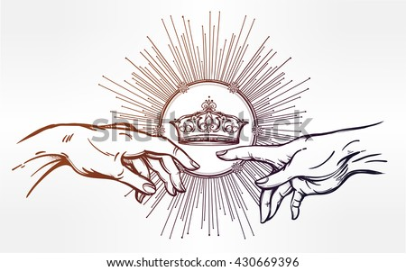 God and Adams hands. Genesis gersture with divine kings crown. Hope faith and help, assistance and support in religion. Isolated vector illustration. Tattoo design, spiritual symbol for your use. - stock vector