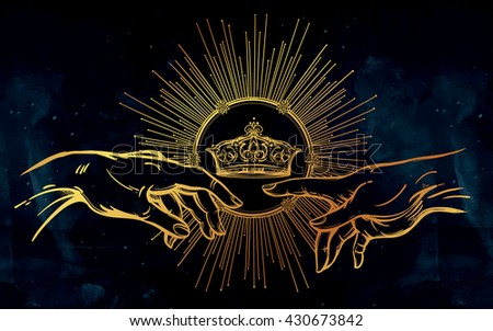 God and Adams hands. Genesis gesture with divine kings crown. Hope faith and help, assistance and support in religion. Isolated vector illustration. Tattoo design, spiritual symbol for your use. - stock vector