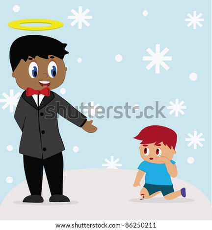 God help the child fall. - stock vector