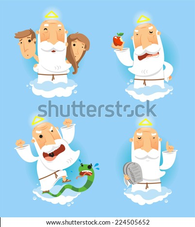 God in heaven set, with Adan and Eve, with god with apple, with god angry with temptation snake and God with the ten commandments board vector illustration. - stock vector