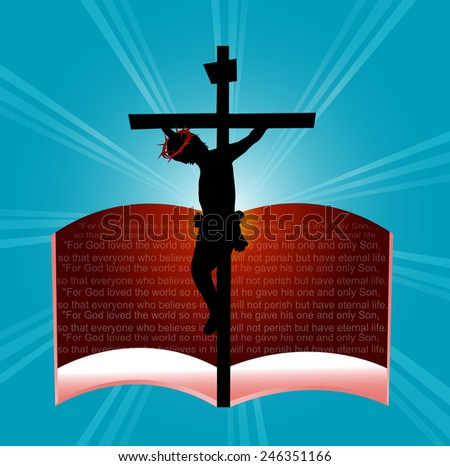 God so loved the word....Bible Passage-Vector illustration  - stock vector