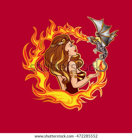 Goddess girl with a dragon on fire