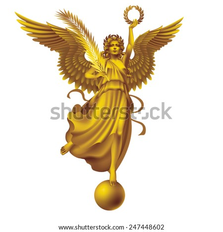 Goddess of Victory with wreath and palm branch on a white background. Tinted Bronze - on a separate layer - stock vector