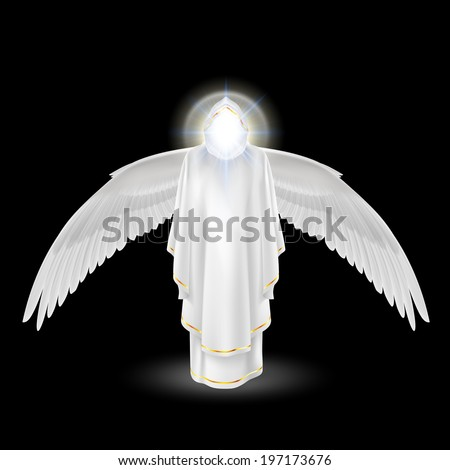 Gods guardian angel in white with wings down on black background. Archangels image. Religious concept - stock vector