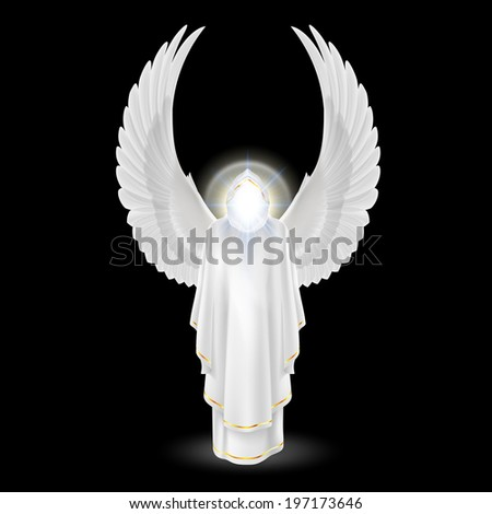 Gods guardian angel in white with wings up on black background. Archangels image. Religious concept - stock vector