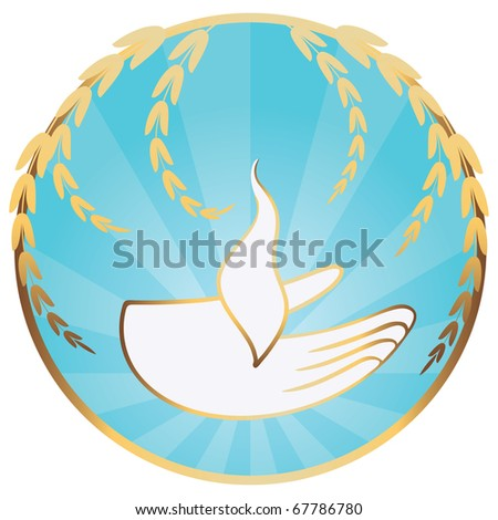 Gods hand with sacred flame - stock vector