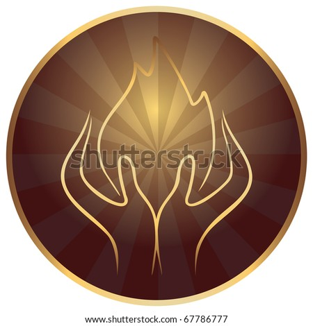 Gods hands with sacred flame - stock vector