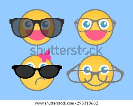 Goggles Fashion - Cartoon smiley set - stock vector