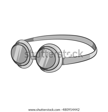 Goggles icon in black monochrome style isolated on white background. Swimming symbol vector illustration