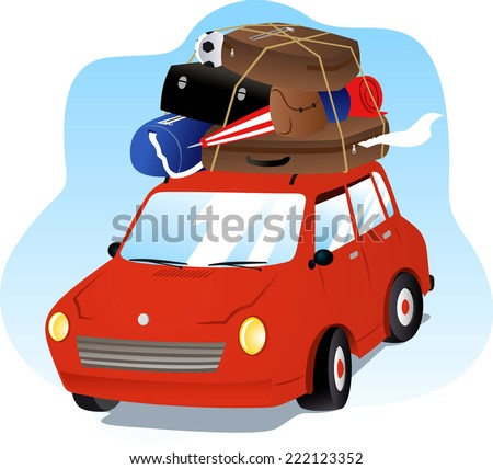 Going on Holidays Vacation Car with Luggage  - stock vector