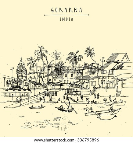 Gokarna, Karnataka, India. Vector artistic drawing. Travel sketch. Boats floating on lake water on Mahashivaratri day. Travel postcard, poster or coloring book page with Gokarna, India hand lettering - stock vector