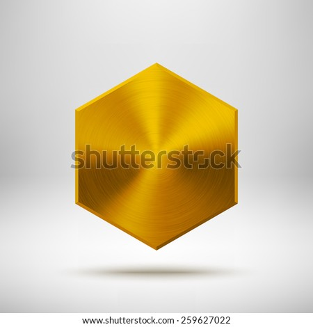 Gold abstract polygon, hex badge, technology blank button template with metal texture (chrome, steel), realistic shadow and light background for interfaces, applications, apps. Vector illustration. - stock vector