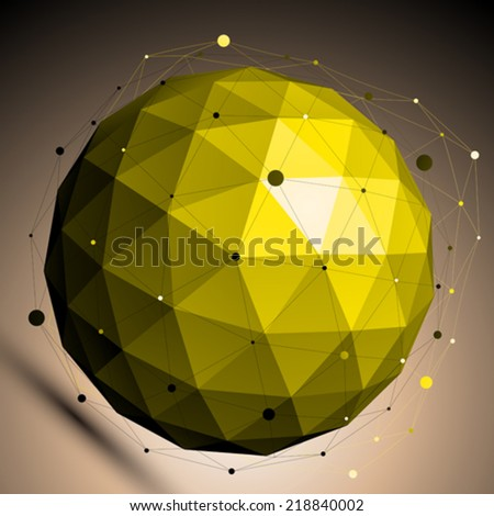 Gold abstract spherical vector object with lines mesh placed over shaded background. - stock vector