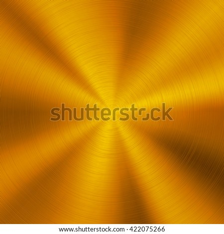 Gold abstract technology background with polished, brushed circular metal texture, chrome, silver, steel, aluminum for design concepts, web, posters, wallpapers and prints. Vector illustration. - stock vector
