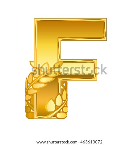 gold alphabet letter F with gold leaf icon
