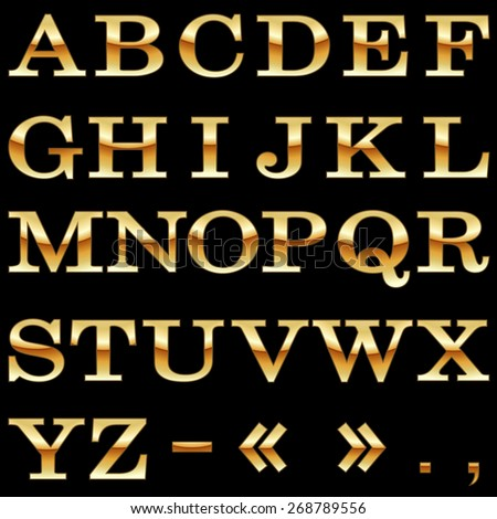 Gold alphabet vector template isolated on black background. - stock vector
