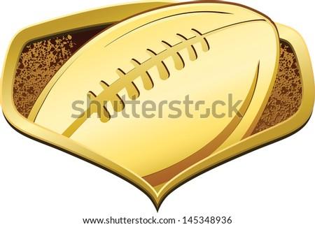 Gold American Football Shield - stock vector