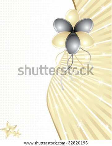 Gold and black balloons with space for text - stock vector