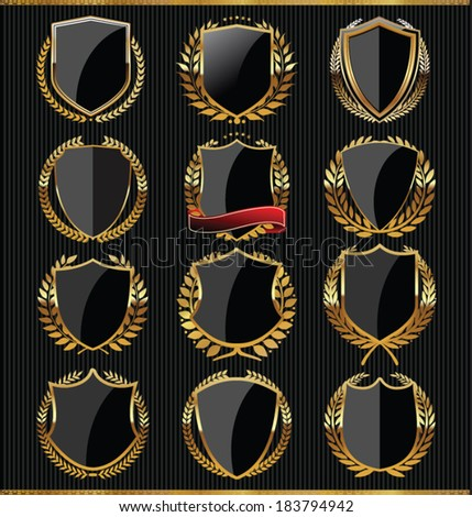 Gold and black shield collection - stock vector