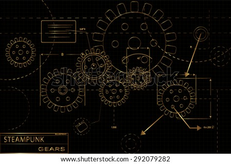 Gold and black steampunk gears blueprint vector illustration - stock vector