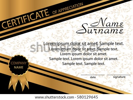 Gold black template certificate appreciation elegant stock vector gold and black template certificate of appreciation elegant background winning the competition reward yadclub Choice Image