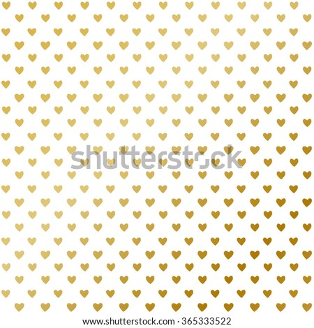 Gold and black vector seamless pattern with hearts.