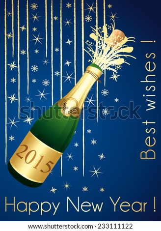 Gold and blue festive Champagne greeting card. Happy New Year ! Vector printable card. - stock vector
