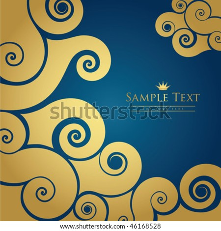 Gold and blue swirl background - stock vector