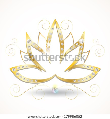gold and diamond lotus flower - stock vector