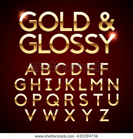 Gold and Glossy shining font, golden alphabet letters vector illustration
