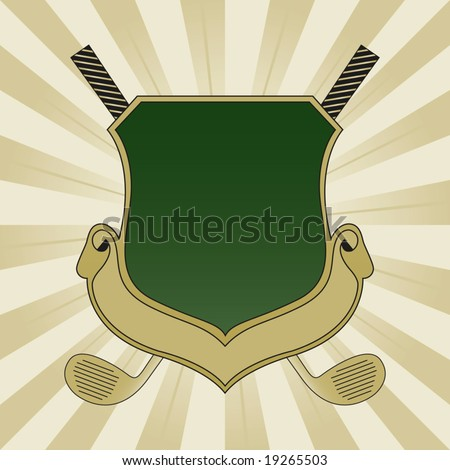 Gold and Green Golf Shield - stock vector
