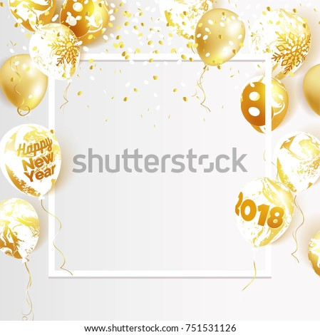 Gold and marble 2018 balloons. Christmas and new year celebration background. Vector illustration