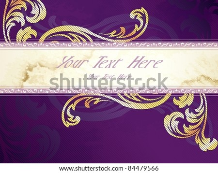 Gold and purple horizontal Victorian banner (eps10);  jpg version also available - stock vector