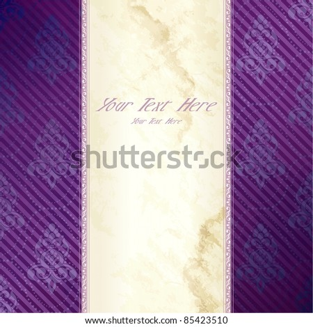 Gold and purple vertical Victorian banner (eps10);  jpg version also available - stock vector