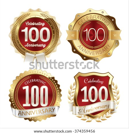 Gold and Red Anniversary Badges 100th Years Celebration
