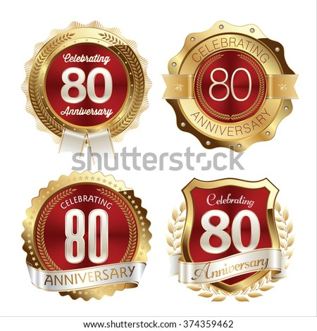 Gold and Red Anniversary Badges 80th Years Celebration