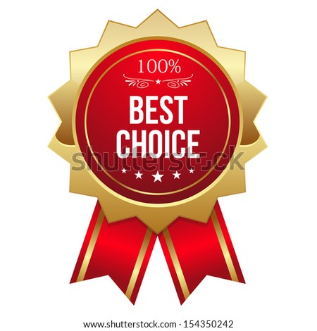 Gold and red best choice badge with ribbon - stock vector