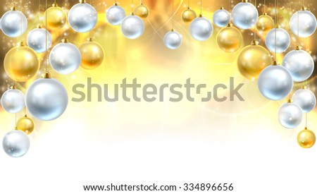 Gold and silver abstract Christmas bauble decoration header background. Fades to white at the bottom for easy use as border design or header.  - stock vector