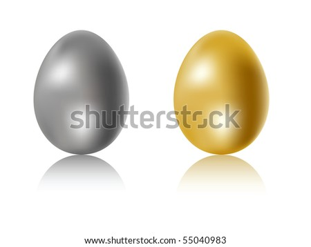 Gold and silver eggs - stock vector